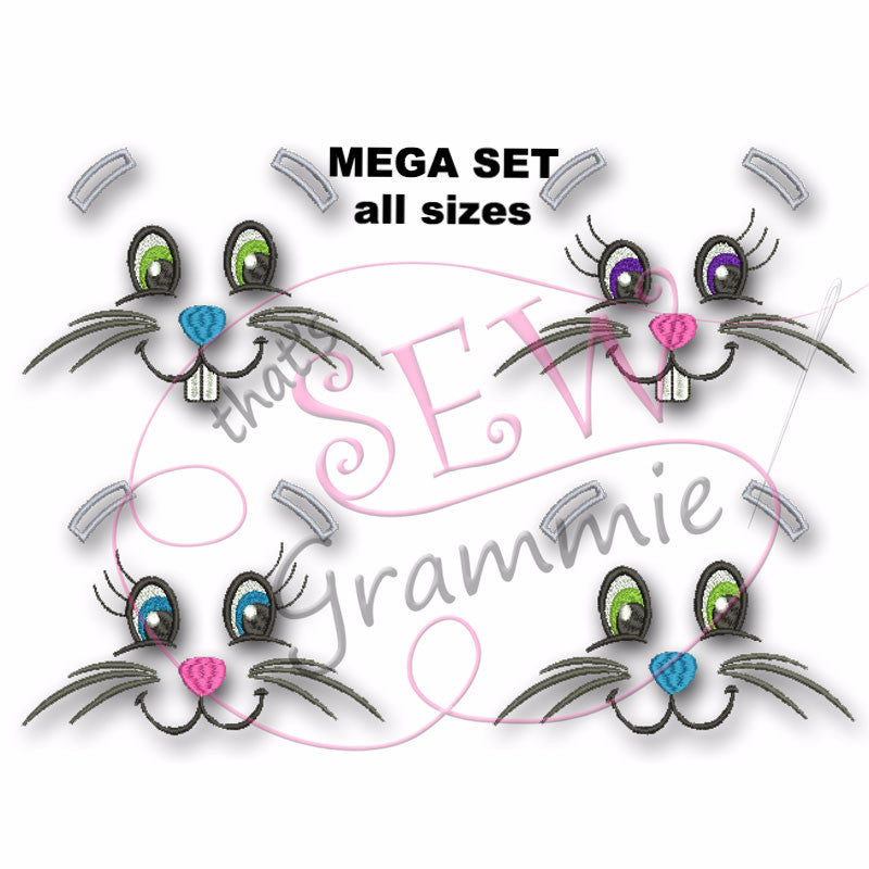 Bunny Faces Embroidery Design for Towels - MEGA SET