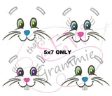 Bunny Faces Embbroidery Design for Towels - 5x7 only