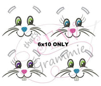 Bunny Faces Embroidery Design for Towels - 6x10 ONLY