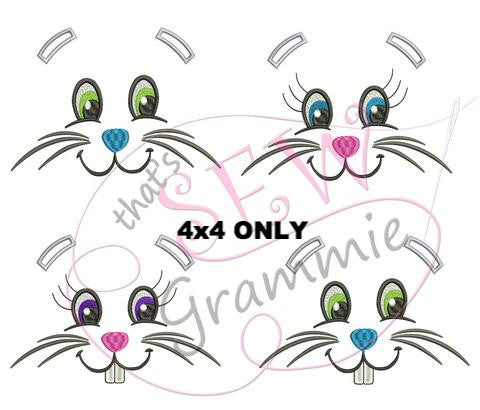 Bunny Faces Embroidery Design for Towels - 4x4 only