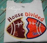 House Divided Football Applique Design