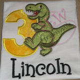 T Rex Birthday Applique Design Number THREE T-Rex