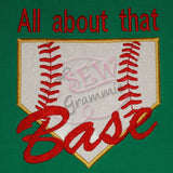All About Base Script Baseball Softball Applique Design