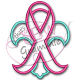 Awareness Fleur De Lis Applique Design