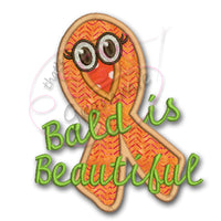 Bald is Beautiful Cancer Awareness Applique