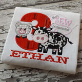 Barnyard Birthday THREE Applique Design