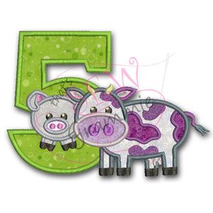 Barnyard Birthday FIVE Applique Design