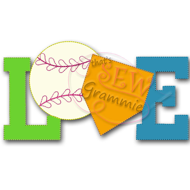 Softball Baseball LOVE Raggy Applique Design