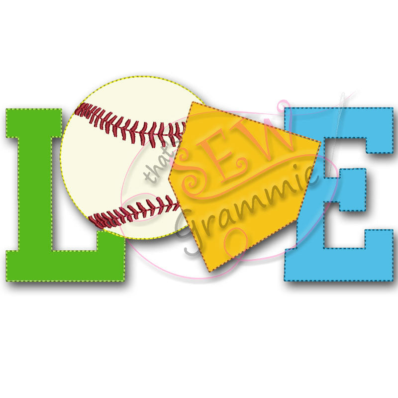 Baseball LOVE Raggy Applique Design