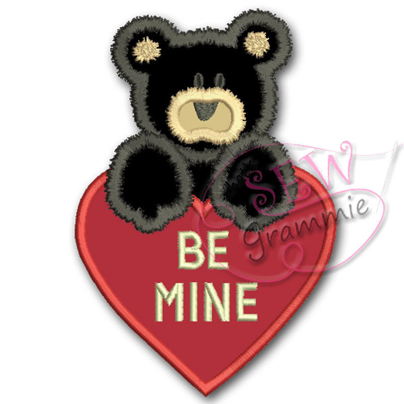 Be MIne Valentine Bear Applique Design
