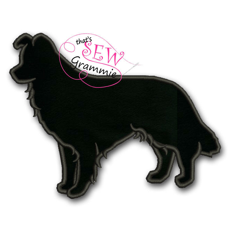 Border Collie Silhouette Applique Design