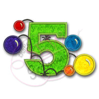 Bouncy Balls Number FIVE Applique Design