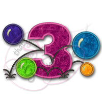 Bouncy Balls Number THREE Applique Design