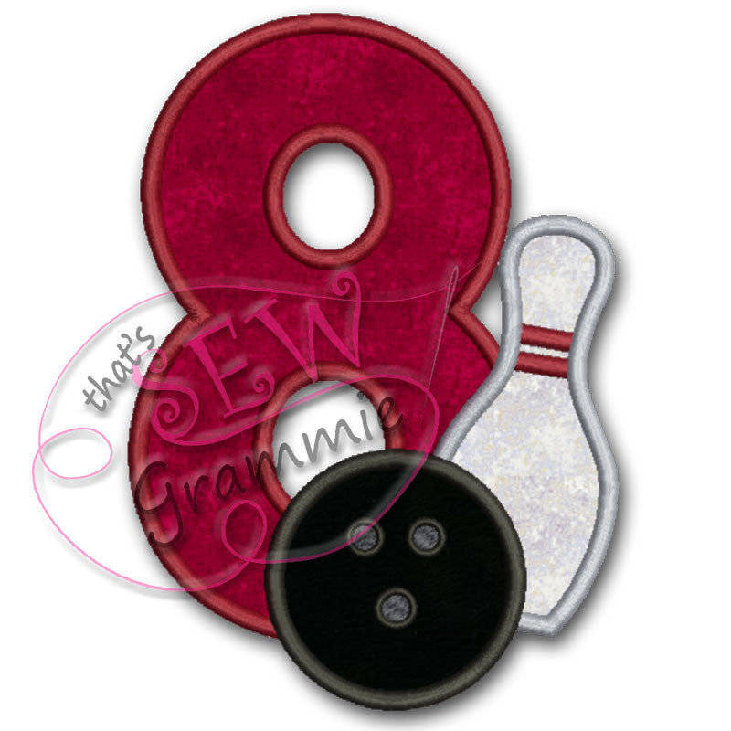 Bowling #8 Applique Design