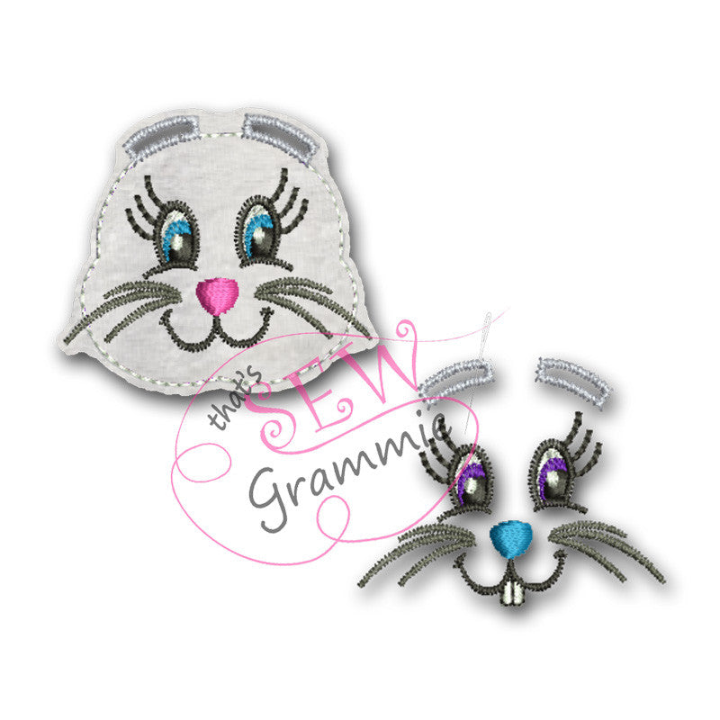 In the Hoop Bunny Face Clipzie & Bow Embellishment