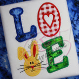 Bunny LOVE Applique Design