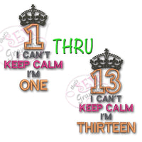 Can't KEEP CALM Applique Design SET 1-13