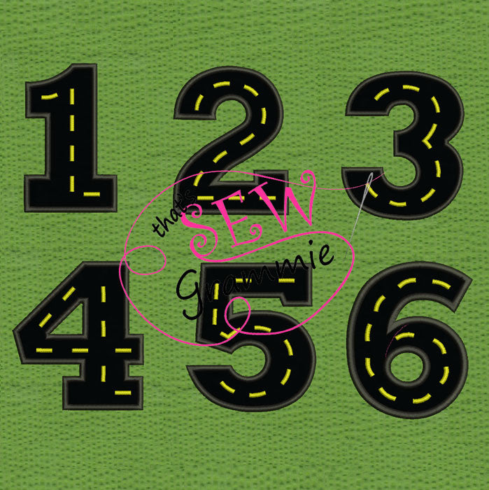 Cruisin' Numbers 1 thru 6 Applique Design SET