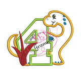 Dino Birthday FOUR Applique Design