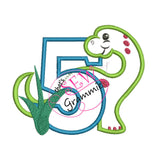 Dino Birthday FIVE Applique Design