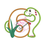 Dino Birthday SIX Applique Design