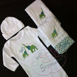 Elephant Mama and Baby Applique Design