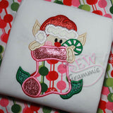 Elf with Stocking Applique Design