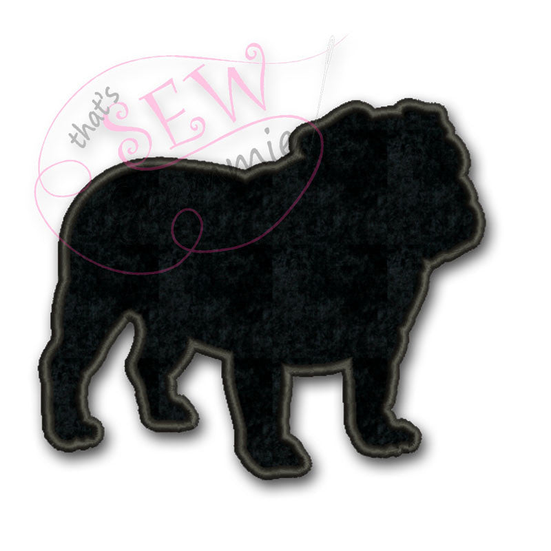 English Bulldog Silhouette Applique Design