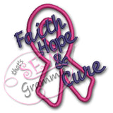 Faith Hope Cure Awareness Ribbon Applique