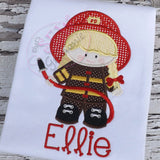 Firefighter Girl Applique Design