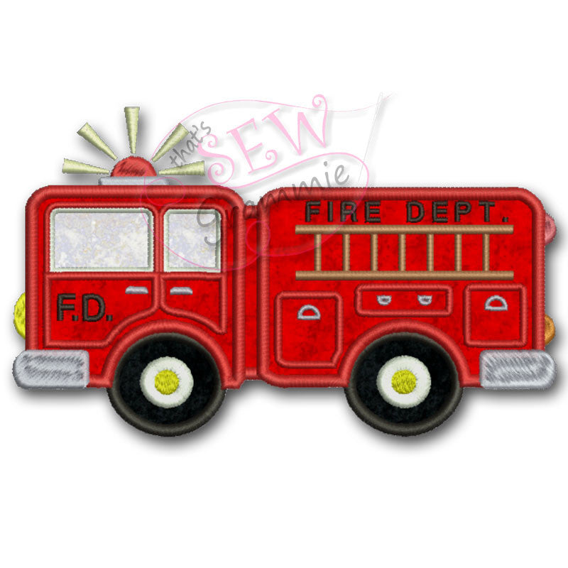 Fire Truck Applique Design Sewgrammie