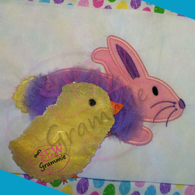 Easter Tulle Bunny & Chick Applique Designs