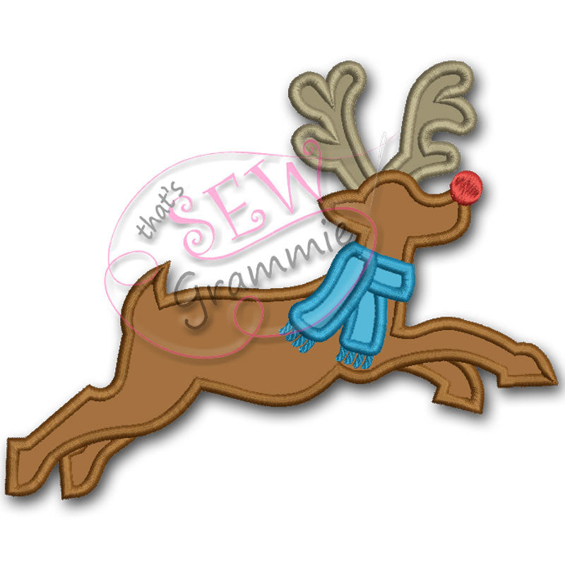 Flying Reindeer Applique Design