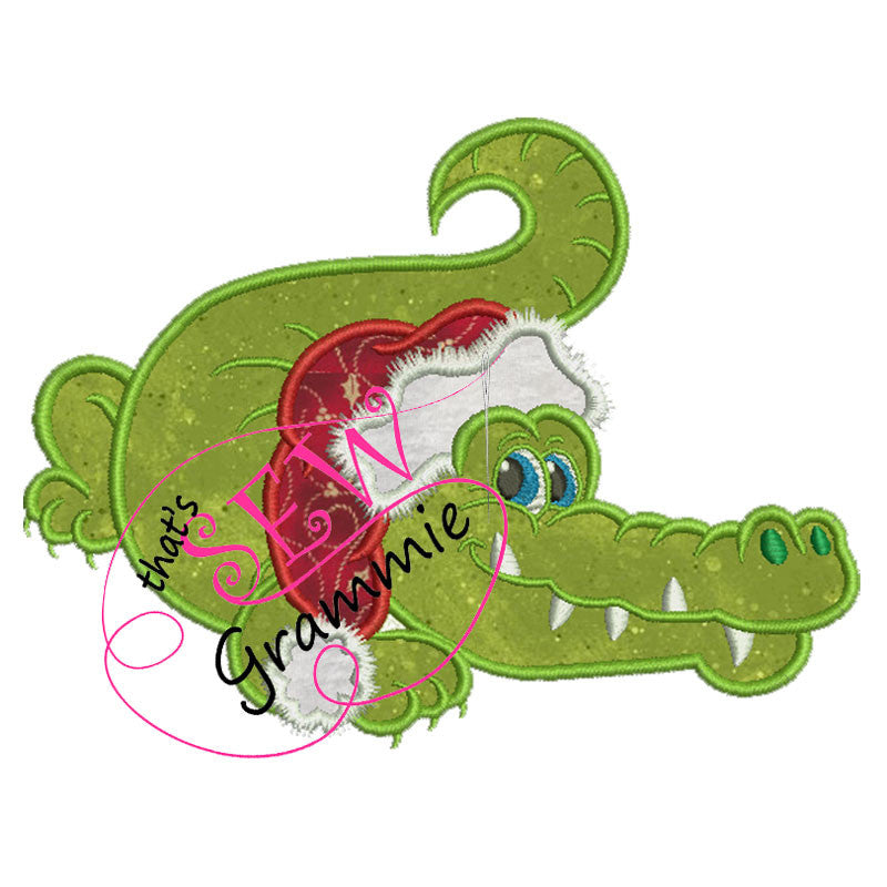 "Santa Gator Applique Design ""Gaston"""