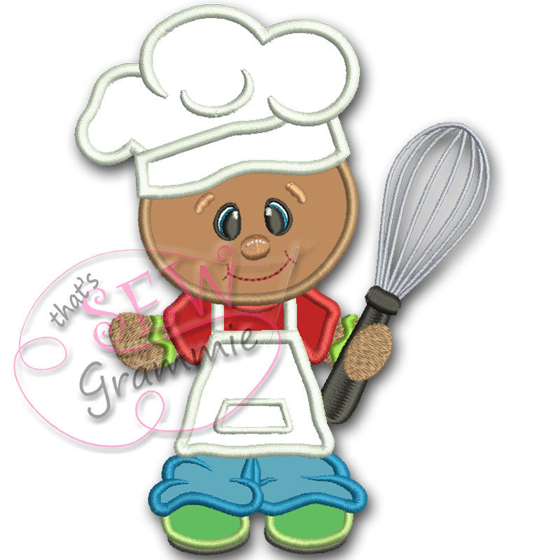 Baking Ginger BOY w Whisk Applique Design