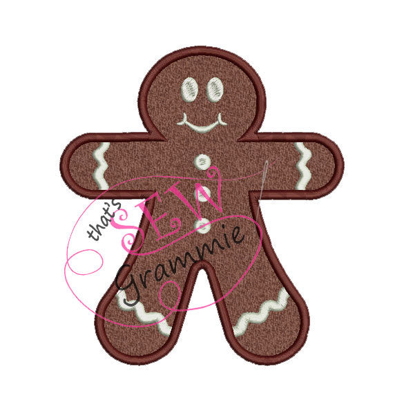 Gingerbread Boy Plain Applique Design