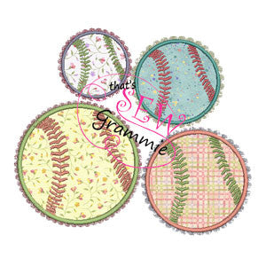 Girlie Baseball Applique Design