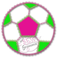 Girlie Soccer Ball Applique Design
