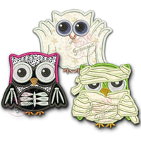 Halloween Owl Applique Design Set