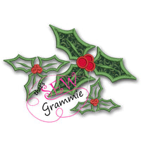 Christmas Holly Applique Design
