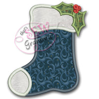 Christmas Holly Stocking Applique Design
