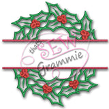 Split Holly Wreath LARGE Applique Design