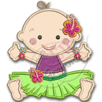 Hula Baby Girl Applique Design