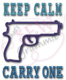 Keep Calm Carry One Applique Design