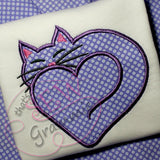 Kitty Cat Heart Applique Design