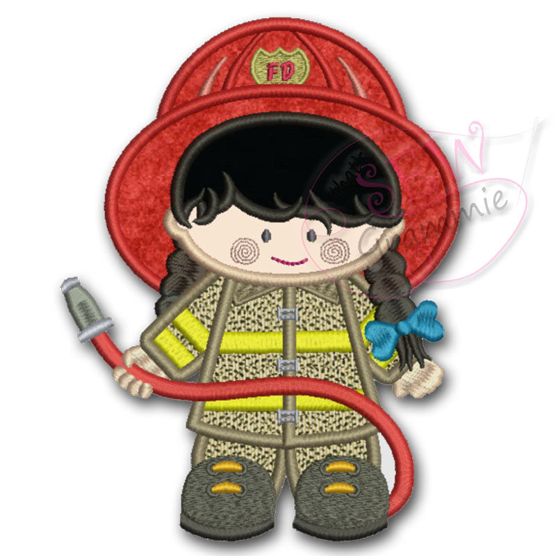 Fire Fighter Girl Applique Design