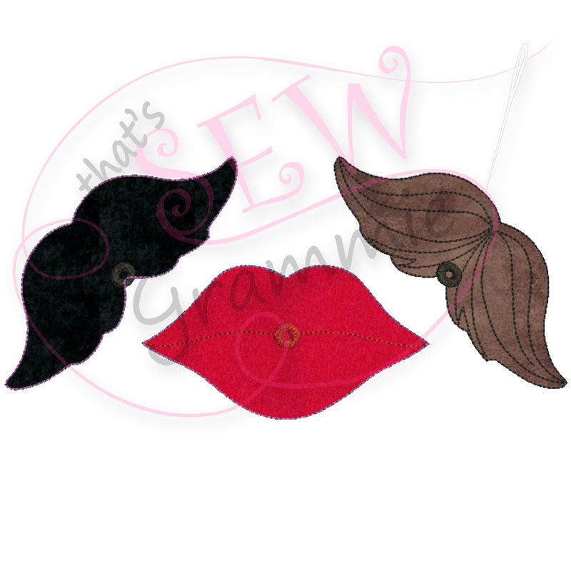 In the Hoop Lips & Mustache QUICK STITCH Lolli-Proppie small SET for Valentine Lollipops