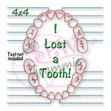 I Lost a Tooth Chart Embroidery Design