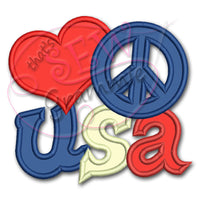 Love Peace USA Applique Design