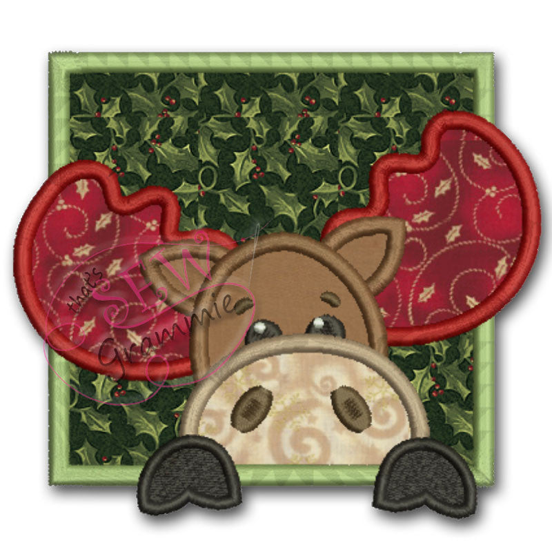 Moose in Square Frame Applique Design